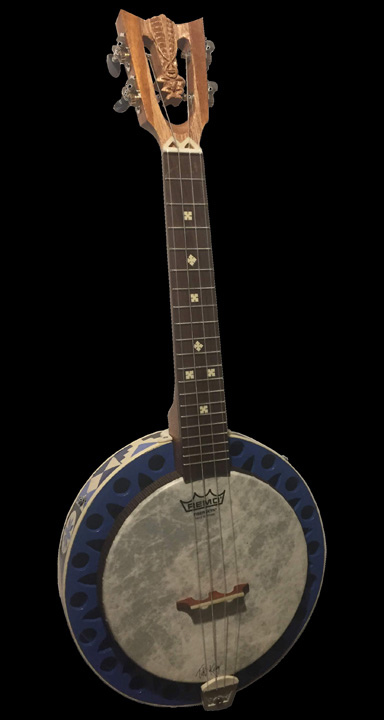 Tiki King small world inspired Banjo Uke, front